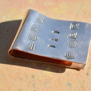 Solid Copper Money Clip Dad Greek Key Handmade